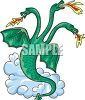 Three Headed Fire Breathing Dragon clipart