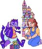 Little Girl Playing with a Baby Dragon clipart