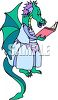 Mother Dragon Reading a Book clipart