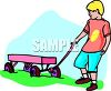 Boy Pulling a Wagon clipart