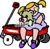 Girl Sitting in a Wagon with Her Teddy Bear clipart