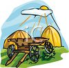 Hay Wagon with Haystacks clipart
