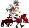 Cartoon of a Cowboy Riding in a Buckboard clipart