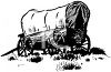 Black and White Covered Wagon clipart