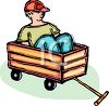 Child Sitting in a Wagon clipart