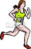 Woman running a marathon clipart