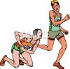 Injure runner in a marathon race clipart