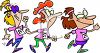 Cartoon people running in a marathon race clipart