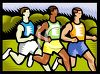 Competitors running a marathon race clipart