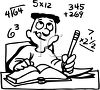 Boy Doing Math Homework clipart