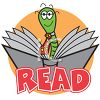 Bookworm Reading a Book clipart