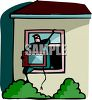 House Burglar Climbing Out a Window with a TV clipart