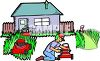 Man Fixing Lawnmowers clipart