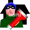 House Burglar Holding a Flashlight clipart