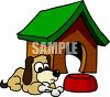 Cartoon of a Dog Sitting Outside His Doghouse clipart