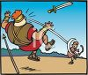Bible Story - David Slays Goliath with Slingshot clipart