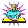 Woman Pouring Milk Onto Her Cereal clipart