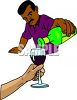 African American Bartender Pouring a Glass of Wine clipart