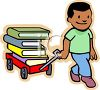 African American Boy Pulling a Wagon Full of Text Books clipart