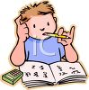 Child Doing Math Homework  clipart