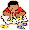 African American Boy Coloring with Crayons clipart