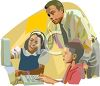 African American Teacher Helping Kids with Computers clipart