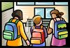 Schoolchildren Going to School clipart