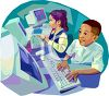 Kids in a Computer Class clipart