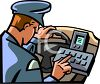 Policeman Using the Computer in His Patrol Car clipart