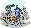 Canine Unit Using a Police Dog to Search for Evidence clipart