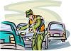 Military Police Officer Stopping Vehicles clipart