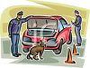 Cops with a Dog Searching a Vehicle Trunk clipart