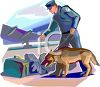Policeman and His Dog Searching Luggage at an Airport clipart