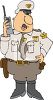 Cartoon of a State Trooper Using His Walkie Talkie clipart