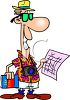 Cartoon of a Tourist on Vacation Holding a Map clipart