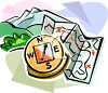 Camping Map and Compass clipart