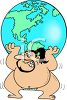 Cartoon Sumo Wrestler Holding the World clipart