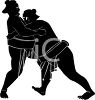 Silhouette of Sumo Wrestlers clipart