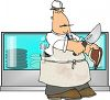Cartoon of a Butcher Cutting Steaks clipart