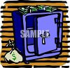 Bank Safe with a Bag of Money clipart