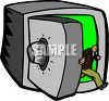 Man Walking Out of a Safe clipart