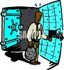 African American Man Putting Money Into a Safe Deposit Box Inside a Safe clipart