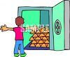 Man Standing in Front of a Safe Full of Gold Bars clipart