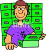 Man Getting Into His Safety Deposit Box clipart