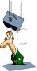 Cartoon of a Safe Dropping on a Guys Head clipart
