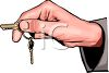 Hand Holding House Keys clipart