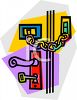 Door with a Lock and Chain clipart