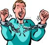 Man Breaking the Chain on Handcuffs clipart