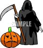 The Grim Reaper Holding His Sickle clipart
