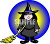 Halloween Costume-Girl Dressed as a Witch clipart